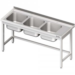 Stół ze zlewem 3-kom.(L),bez półki 1900x700x850 mm