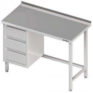 Stół przyścienny z blokiem trzech szuflad (L),bez półki 1800x600x850 mm