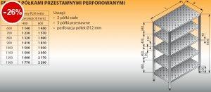 Regał z półkami przestawnymi perforowanymi lo 607 - 800x400