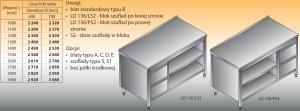 Stół roboczy z blokiem szuflad i szafką otwartą lo 136/s2 - 1600x600