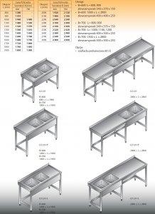 Stół zlewozmywakowy 2-zbiornikowy lo 231 - 2700x700