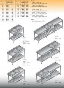 Stół zlewozmywakowy 2-zbiornikowy lo 233 - 2600x700