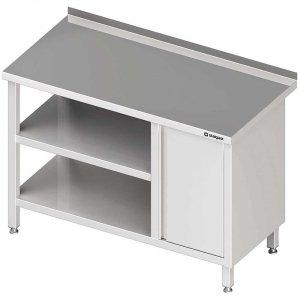 Stół przyścienny z szafką (P),i 2-ma półkami 1800x600x850 mm