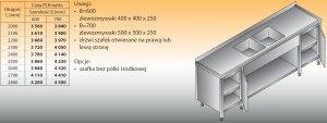 Stół zlewozmywakowy 2-zbiornikowy lo 251 - 2500x700