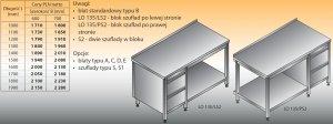 Stół roboczy z blokiem szuflad i półką lo 135/s2 - 1200x700