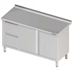 Stół przyścienny z blokiem dwóch szuflad (L),drzwi skrzydłowe 1700x700x850 mm