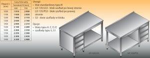 Stół roboczy z blokiem szuflad i półką lo 135/s3 - 1900x700