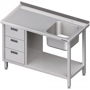 Stół ze zlewem 1-kom.(P), z blokiem trzech szuflad i półką 1800x600x850 mm
