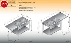 Stół zlewozmywakowy 2-zbiornikowy z półką lo 346 lewy Lozamet