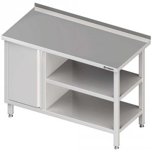 Stół przyścienny z szafką (L),i 2-ma półkami 1900x700x850 mm