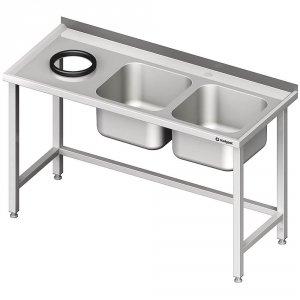 Stół przyścienny ze zlewem bez półki z otworem 1500x700x850 mm, 2-komory po prawej spawany