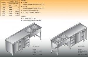 Stół zlewozmywakowy 2-zbiornikowy lo 253/s3 - 2800x700