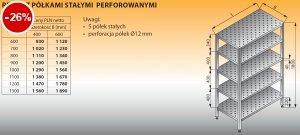 Regał z półkami stałymi perforowanymi lo 604 - 1100x400