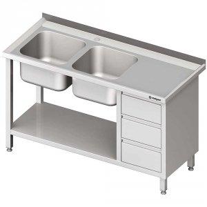 Stół ze zlewem 2-kom.(L), z blokiem trzech szuflad i półką 1900x600x850 mm