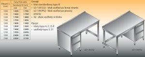 Stół roboczy z blokiem szuflad lo 134/s2 - 1100x600