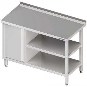 Stół przyścienny z szafką (L),i 2-ma półkami 1600x700x850 mm