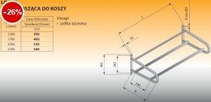 Półka wisząca do koszy lo 367 - 1700x615 Lozamet