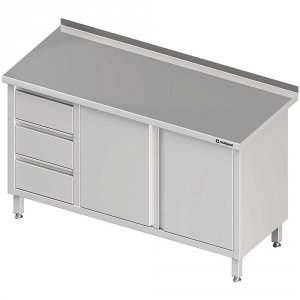 Stół przyścienny z blokiem trzech szuflad (L),drzwi skrzydłowe 1900x600x850 mm