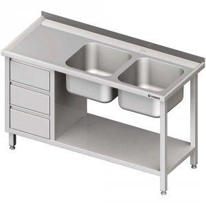Stół ze zlewem 2-kom.(P), z blokiem trzech szuflad i półką 1600x700x850 mm