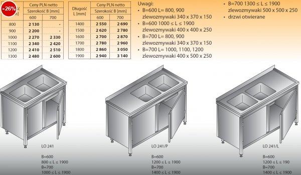 Stół zlewozmywakowy 2-zbiornikowy lo 241 - 800x600
