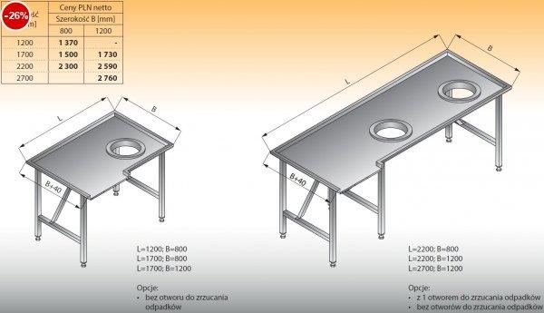 Stół sortowniczy kątowy prawy lo 308 - 1700x800 Lozamet