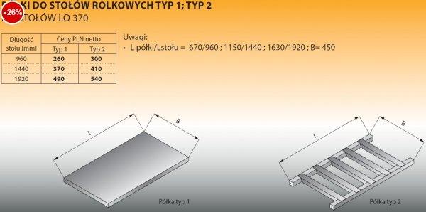 Półki do stołów rolkowych typ 2/1440 Lozamet