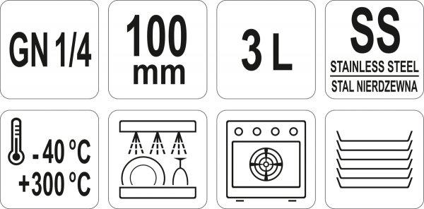 POJEMNIK GASTRONOMICZNY GN 1/4 100 Yato