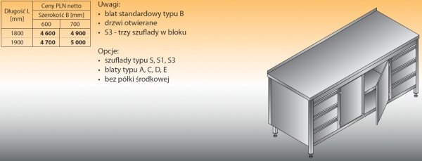 Stół roboczy z dwoma blokami szuflad i szafką lo 145/s3 - 1800x600