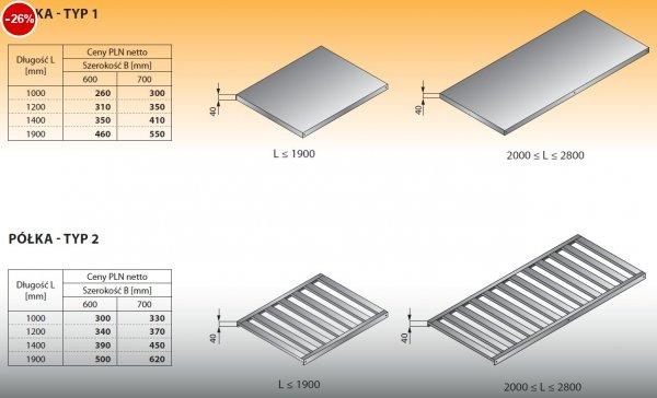 Półka - typ 1 1000/600