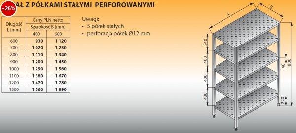 Regał z półkami stałymi perforowanymi lo 604 - 600x400