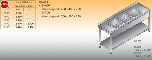 Stół zlewozmywakowy 3-zbiornikowy lo 262 - 1500x600