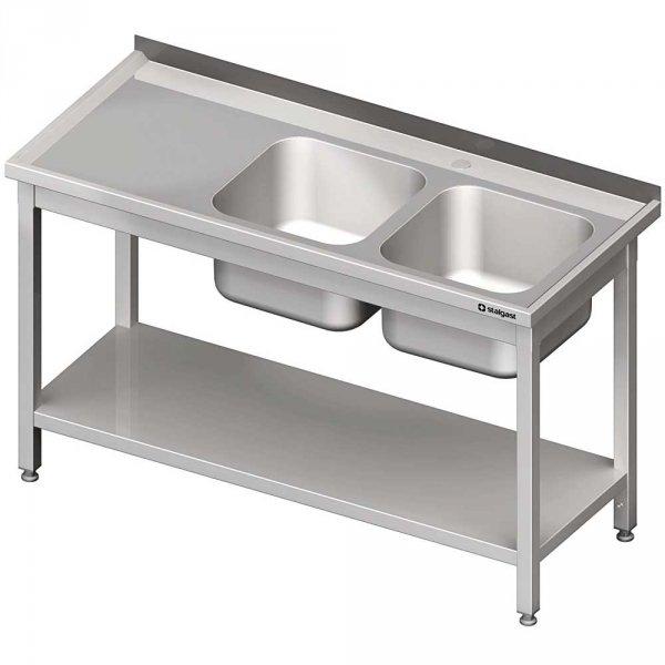 stół stalowy z półką ze zlewem 2-komorowym prawym, skręcany, blat tłoczony, 1400x600x850 mm