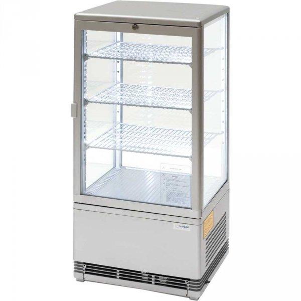 witryna ekspozycyjna 78 l srebrna oświetlenie LED