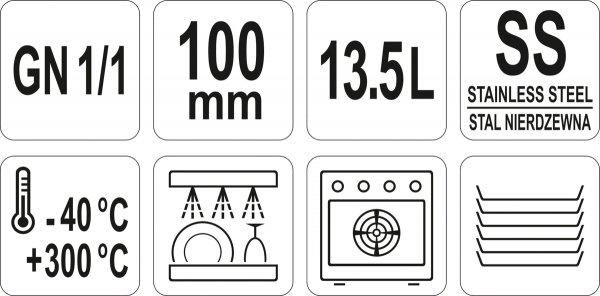 POJEMNIK GASTRONOMICZNY ZE STALI NIERDZEWNEJ GN 1/1 100MM 13,5L Yato