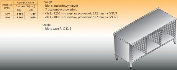 Stół z prowadnicami na pojemniki gn lo 113 1200/700