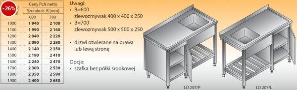 Stół zlewozmywakowy 1-zbiornikowy lo 207 - 1000x600