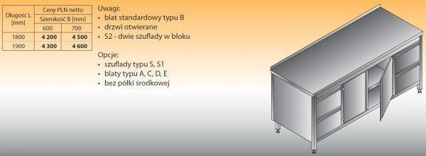 Stół roboczy z dwoma blokami szuflad i szafką lo 145/s2 - 1800x600