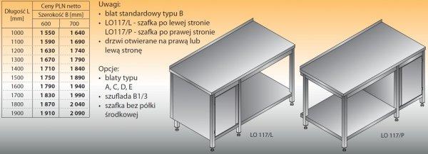 Stół roboczy z szafką i półką lo 117/l; lo 117/p 1200/700