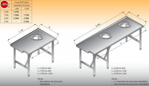 Stół sortowniczy prosty lewy lo 304 - 1200x800 Lozamet