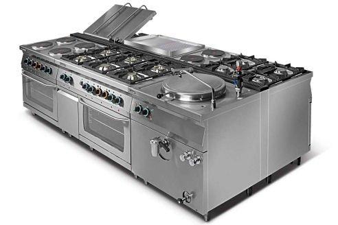 Kuchnia gazowa 4-palnikowa z piekarnikiem elektrycznym z termoobiegiem GN1/1 L700.KG4 PET Lozamet