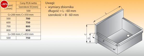 Zlewozmywak 1-komorowy ścienny lo 411 - 500x500