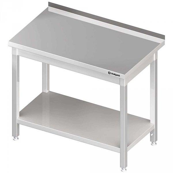 stół stalowy z półką, przyścienny, spawany, 1200x600x850 mm