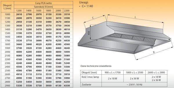 Okap centralny z oświetleniem lo 911 - 2200x2000