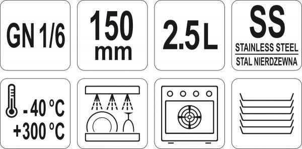 POJEMNIK GASTRONOMICZNY ZE STALI NIERDZEWNEJ GN 1/6 150MM 2,5L Yato