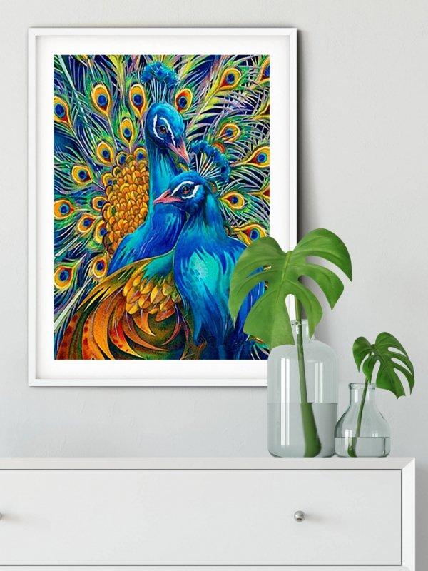 Haft Diamentowy Niebieskie Pawie 45x55 cm K