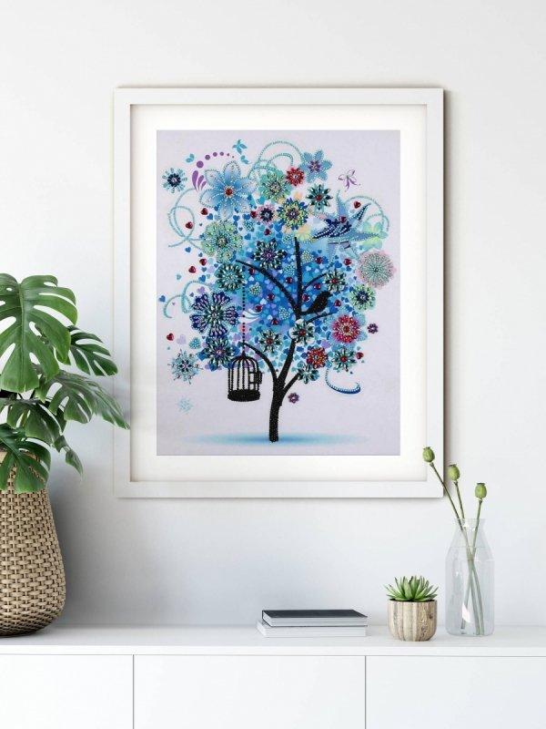 Haft Diamentowy Zimowe Drzewo 45x55 cm