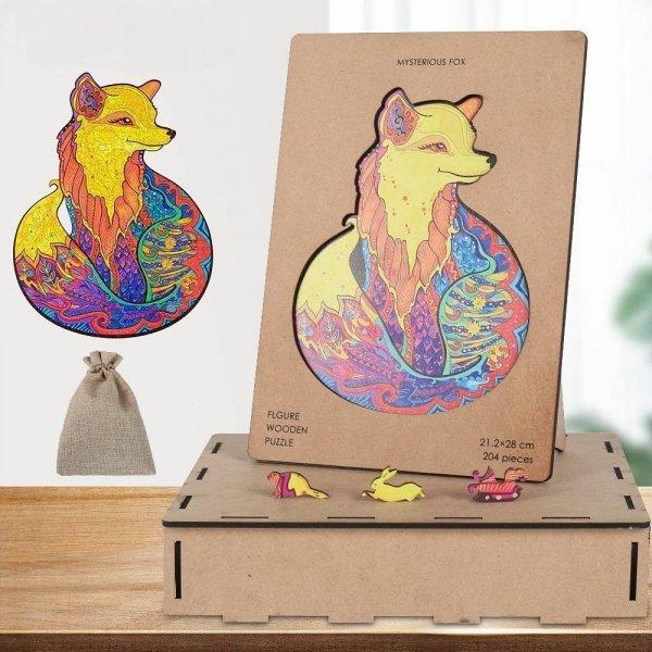 Drewniane Puzzle Kolorowy Lis A4