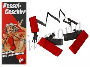 Fessel Geschirr zestaw BDSM do krępowania nóg z szyją