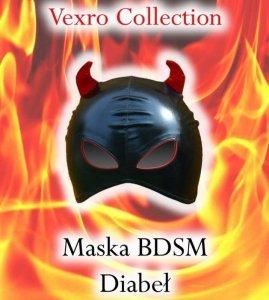 Czarna Maska BDSM DIABEŁ - sado-maso