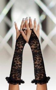 Czarne koronkowe rękawiczki na palec SoftLine Gloves